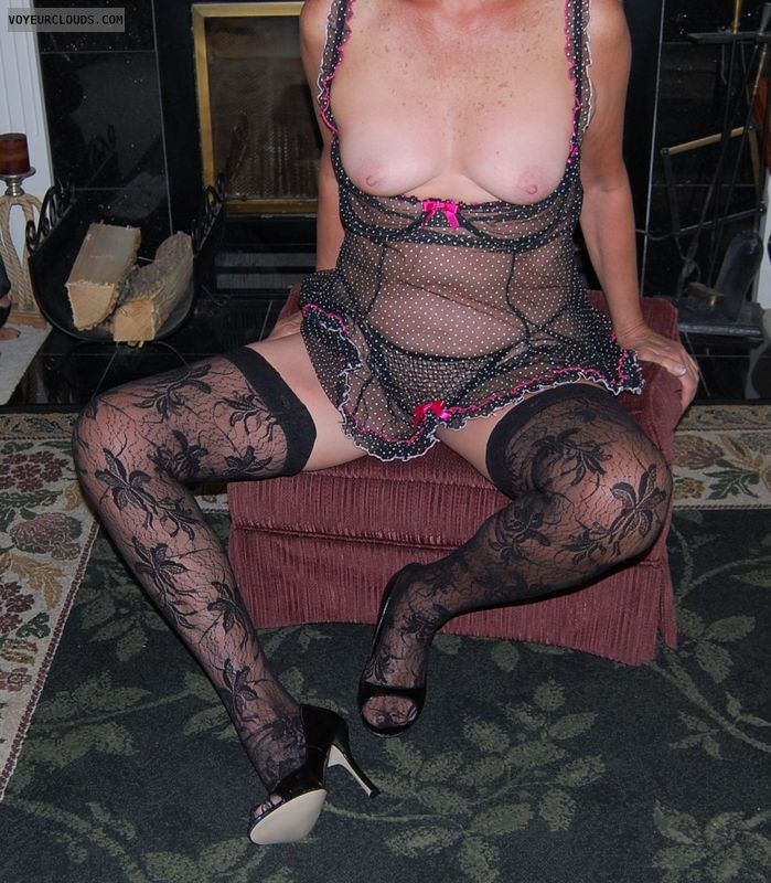 senior, mature, gilf, lingerie, heels, stockings, nylons