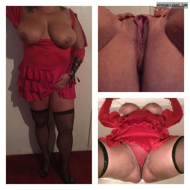Big tits, halloween, open pussy, sexy wife, spread legs
