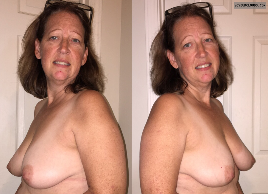 Mature wife, Saggy Tits, topless, hard nipples, tanlines