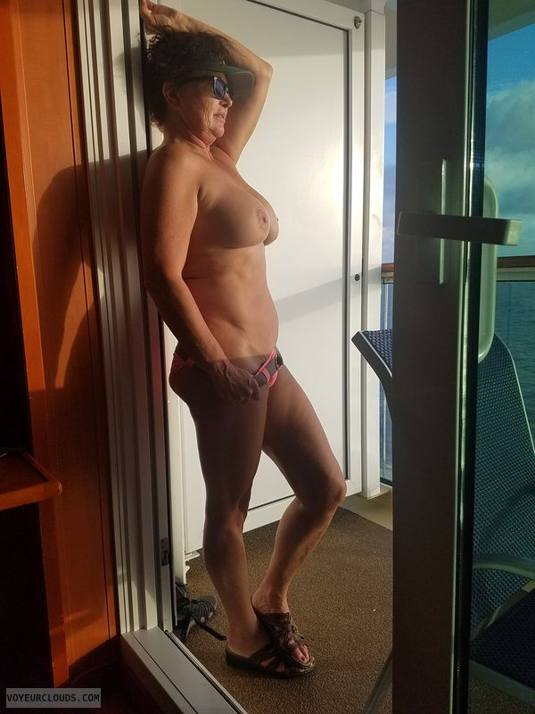 hard nipples, GILF boobs, posing, Naked cruising