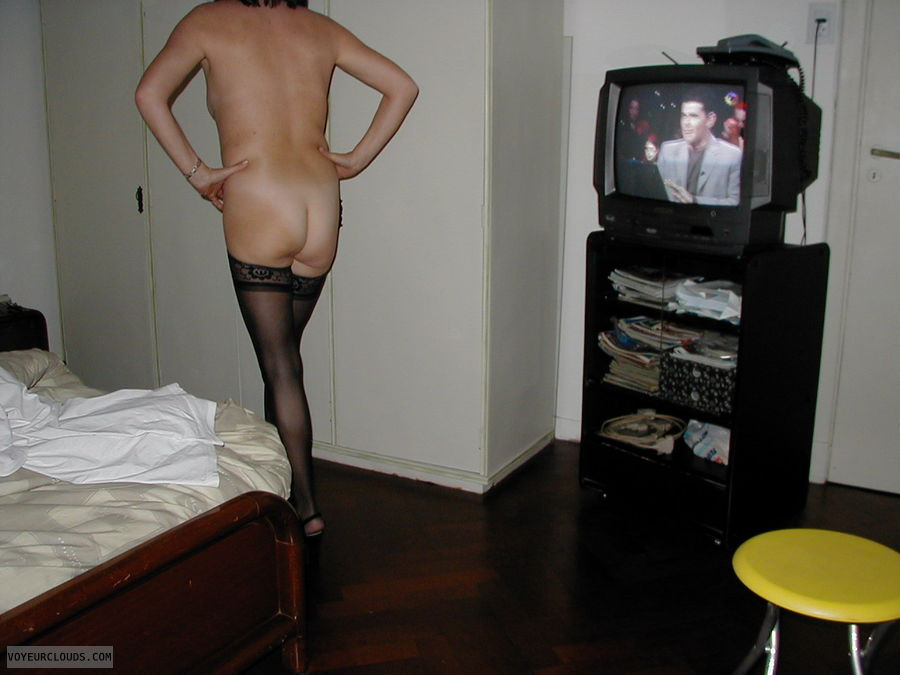 ass, legs, nude wife, stockings