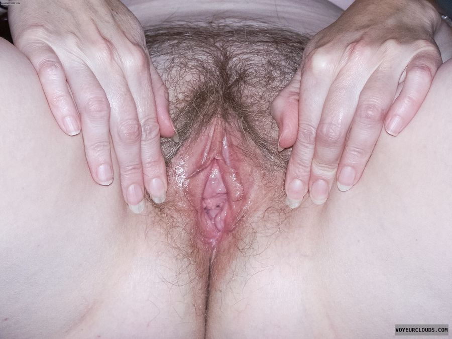 Hairy pussy, wifes pussy, pussy lips, spread lips