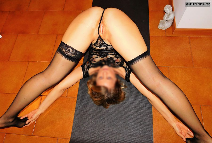 anna, wife, ass, spread, nude yoga, cunt, labia, vagina