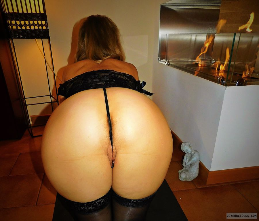 anna, wife, ass, thong, lingerie, stockings