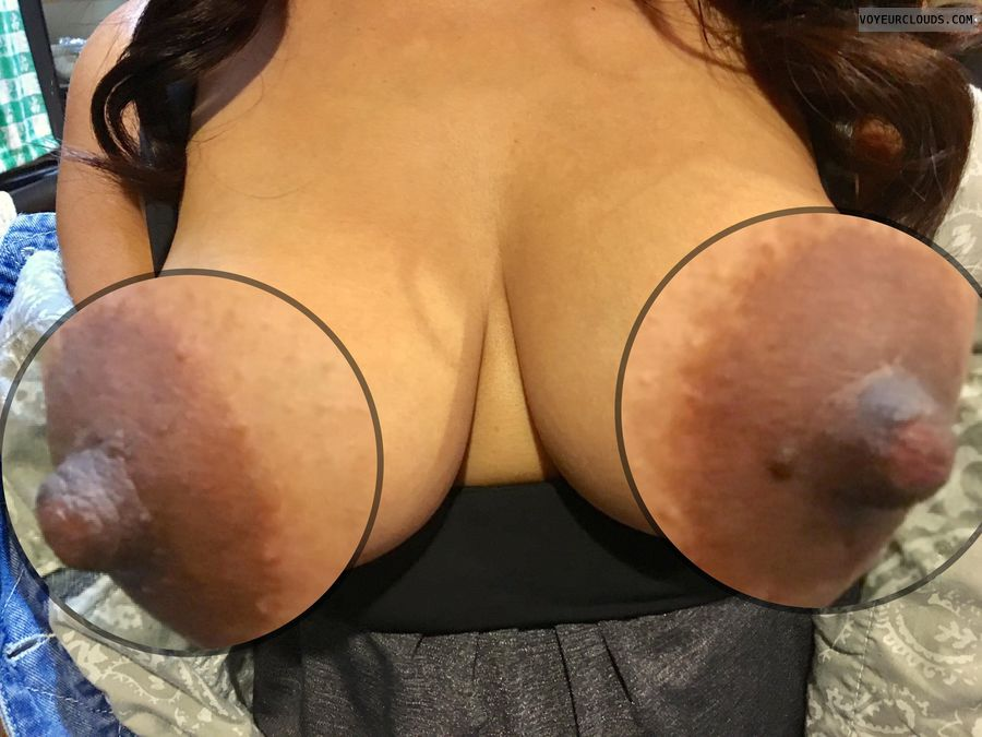 hard nipples, big nipples, dark areolas, tits out