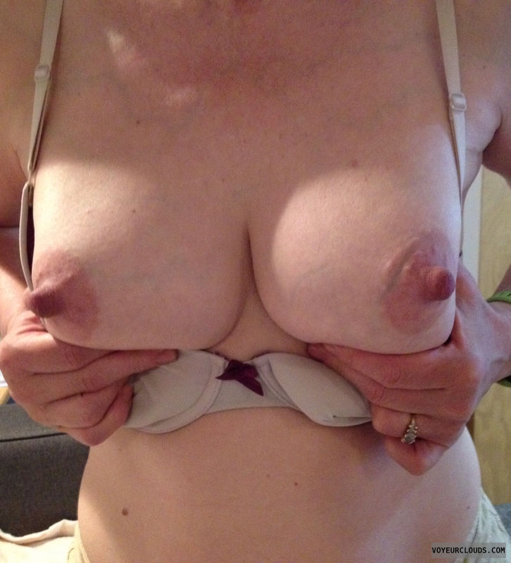 hard nipples, wife boobs, hand bra, teasing