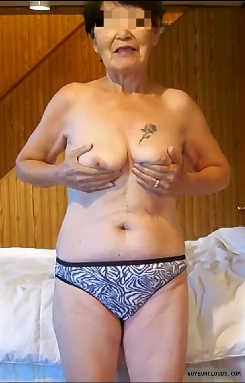 nude wife, wife showing tits, tattoo, wife in panties