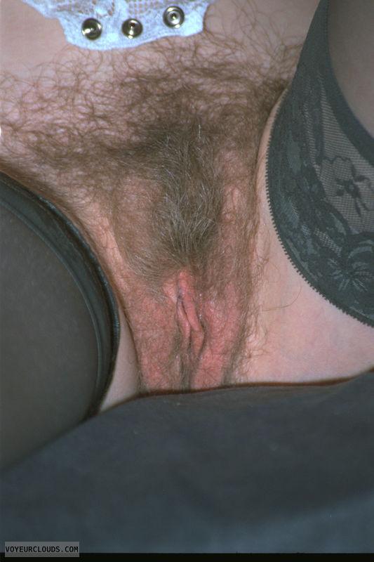 hairy pussy, bush, stockings, pussy lips