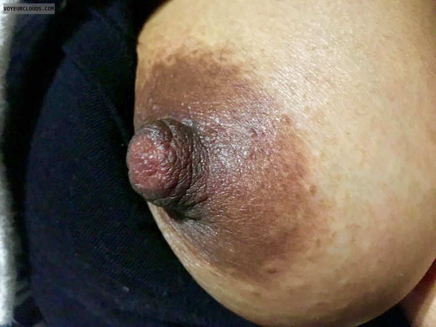 hard nipples, dark areola, tit out, teasing, closeup