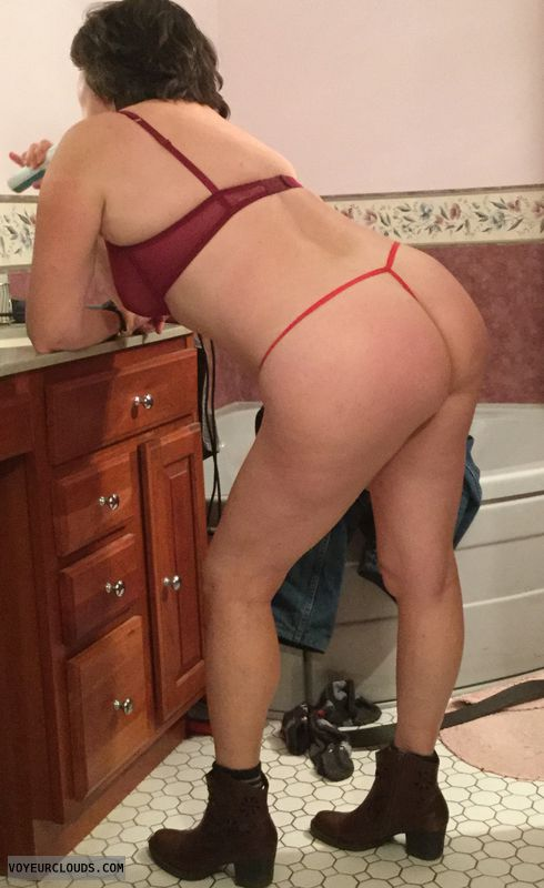 round ass, round butt, boots, red thong