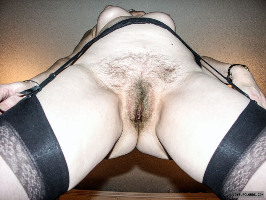 Hairy pussy, spread legs, tots, stockings, hairy slit