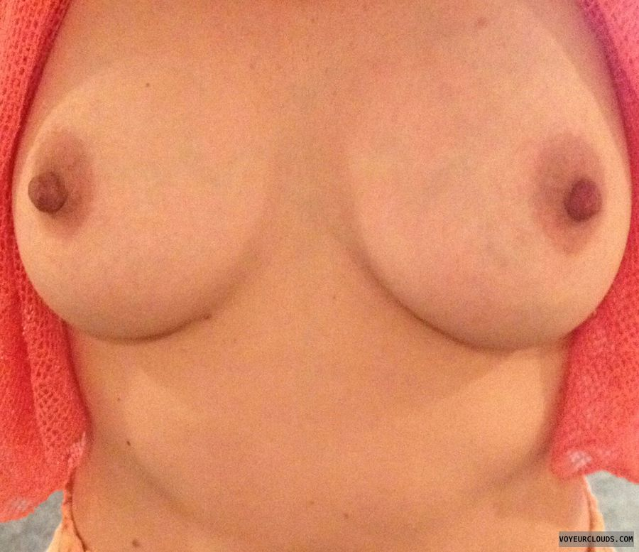 tits out, braless, hard nipples, selfie, teasing