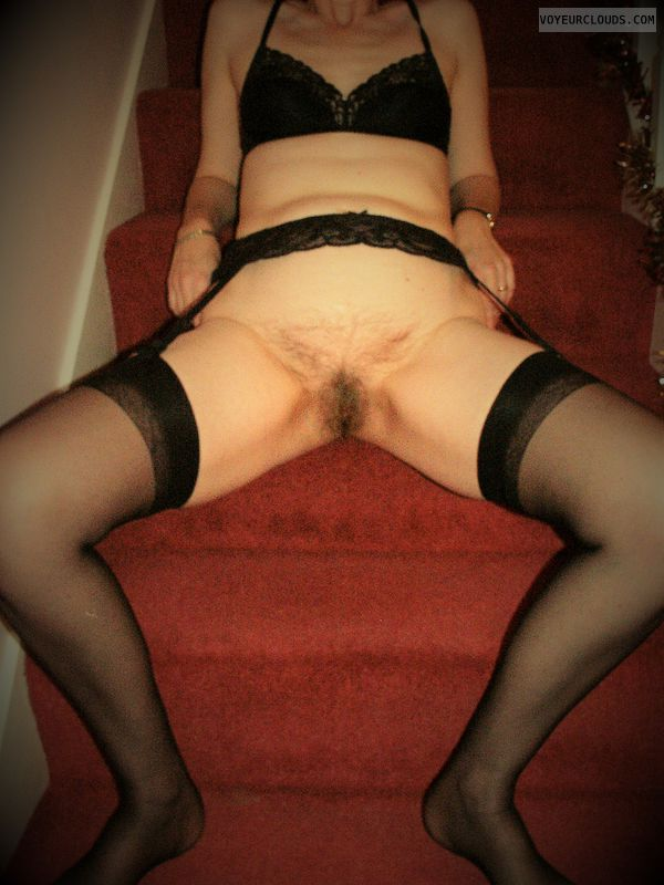 Legs Spread, Hairy Slit, Black Stockings, Suspender Belt