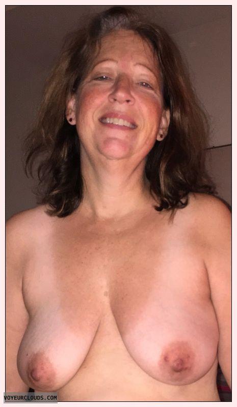 Mature, Saggy tits, slut, Dark nipples, Sexy smile