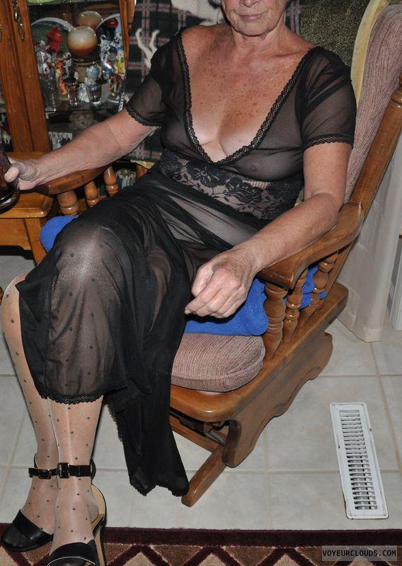tits, senior, sheer, mature, GILF, lingerie, heels