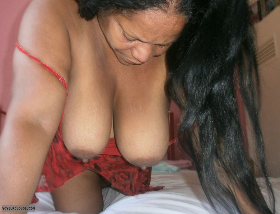 Hangers, doggy, red nighty, mulata, big tits, mature