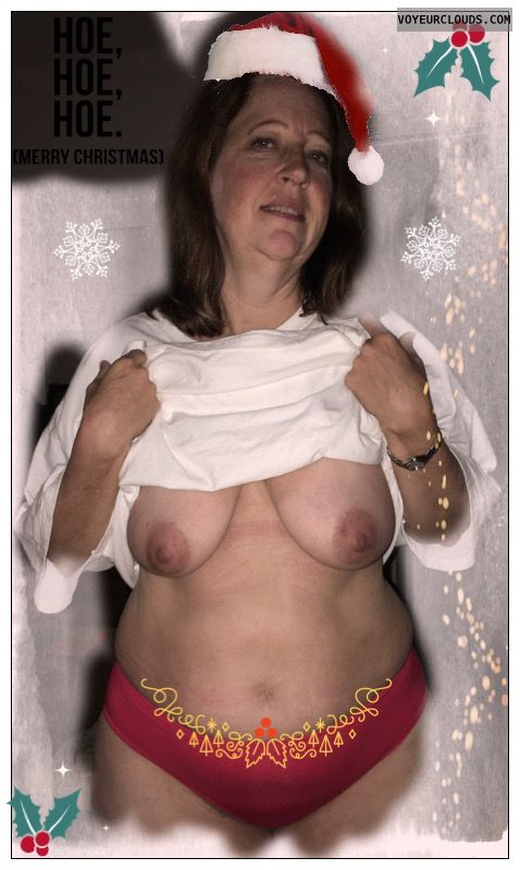 Mature, Slut, Saggy tits, Holiday, christmas