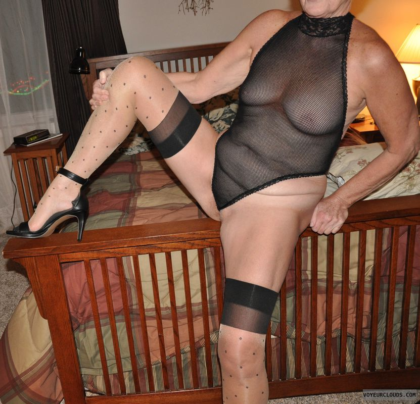 senior, mature, gilf, tits, nipples, sheer lingerie