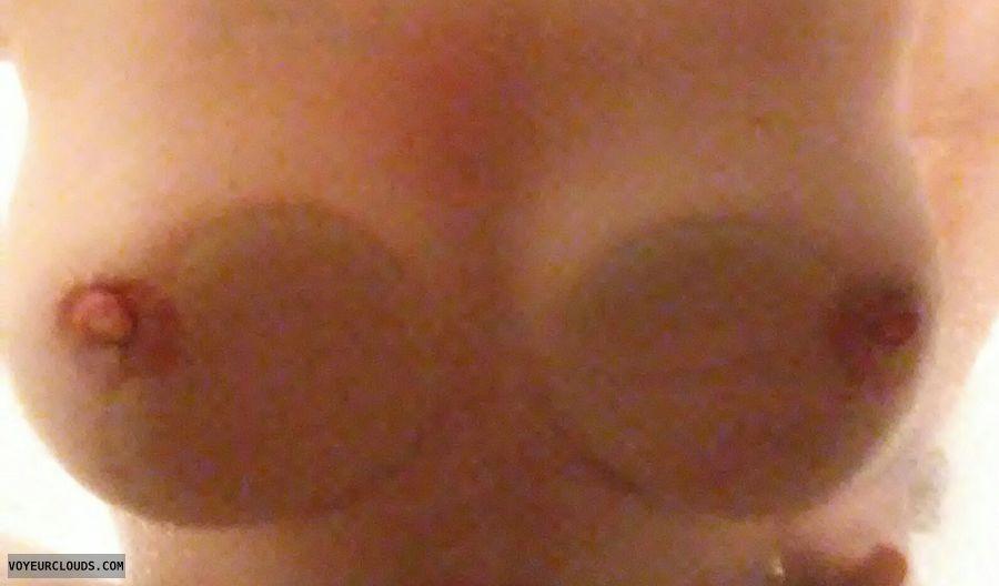 nude woman, hard nipples, big tits, shower pic