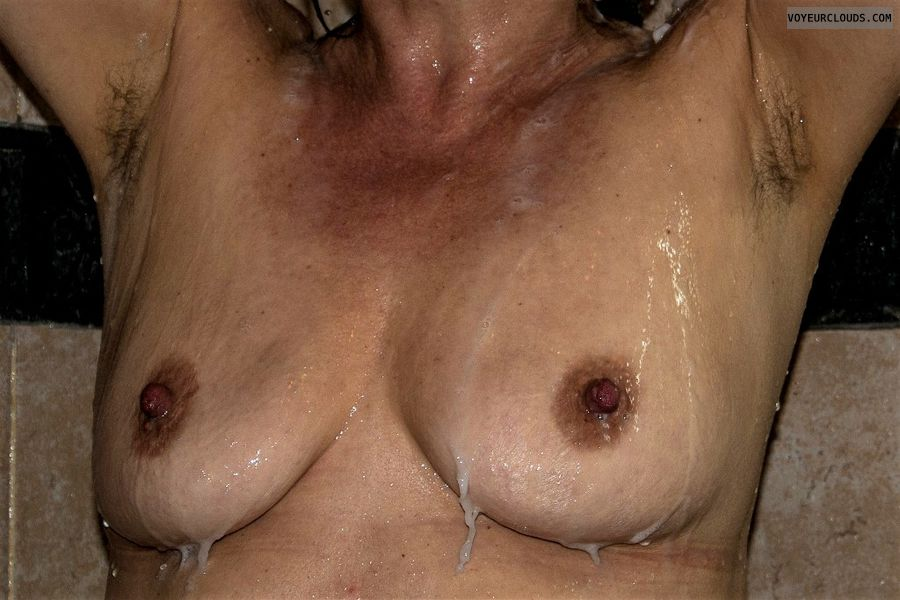 nude wife, small tits, hard nipples, wet skin, naked wife