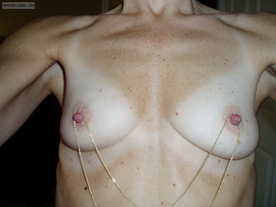 hard nipples, small tits, small boobs, tanlines, chain