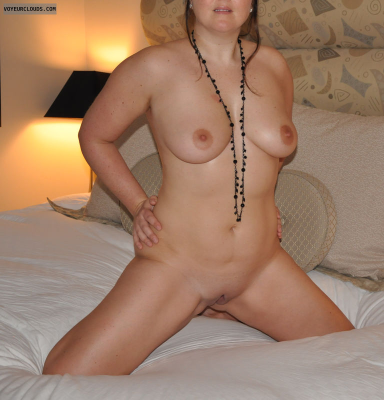 nudist, 36D, Shaved, big tits, brunette