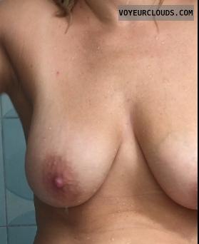 wife, tits, shower, nude, wet, bathromoom, boobs, breasts