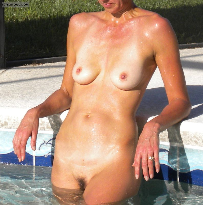 Small tits, wife, milf, mature, outside, pool, voyuer