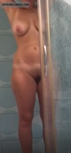 wife, nude, shower, bush, tits, wet
