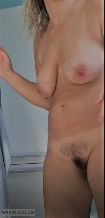 wife, nude, wet, shower, tits, pussy, bush, hairy