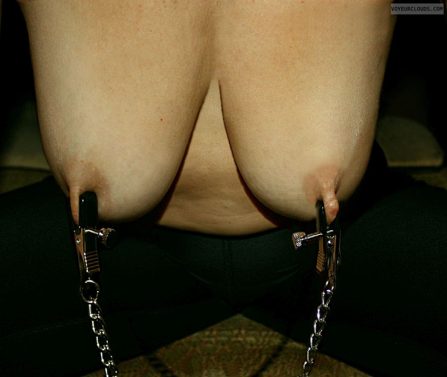 Milf, hot wife, big tits, nipples, Nipple clamps