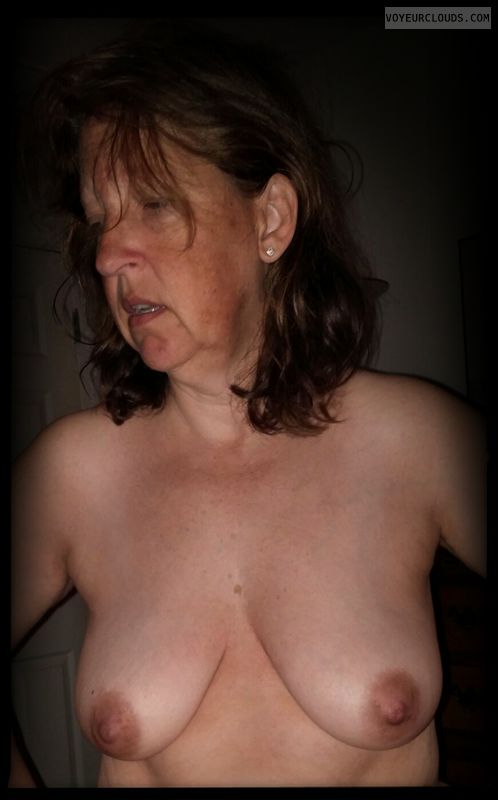 Dark nipples, Small tits, hard nipples, topless.