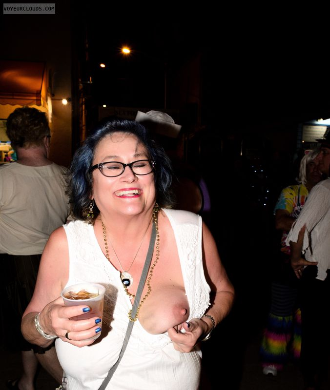 Big tits, sexy smile, Fantasy Fest, glasses