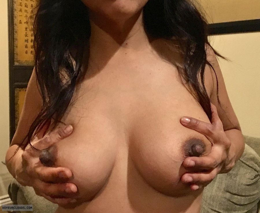 My 32DD, big Tits, hard nipples, touching, posing