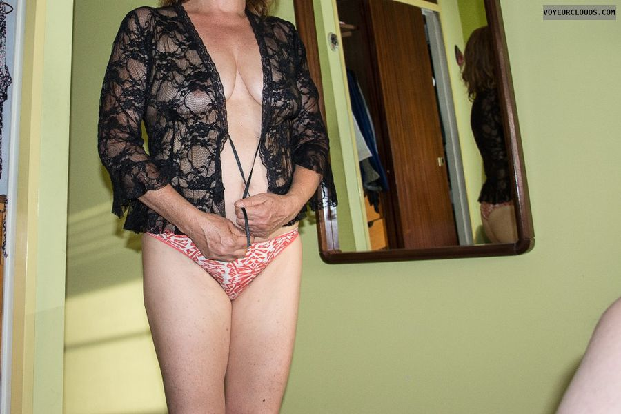 small tits, legs, black lace blouse,  nude wife.