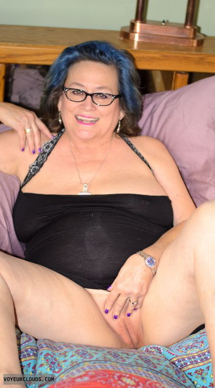 Shaved pussy, lingerie, glasses, sexy smile