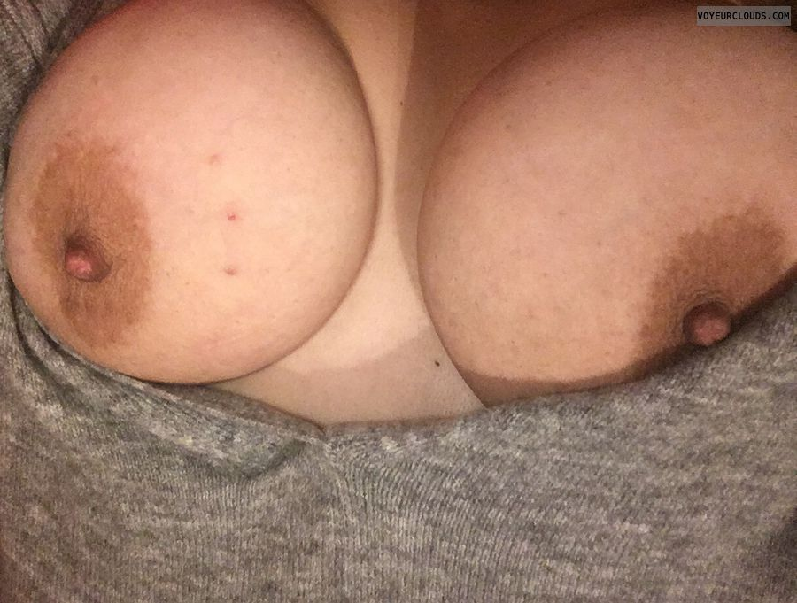tits out, hard nipples, big tits, big boobs, sweater