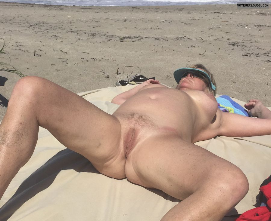 public beach, nude, pussy, tits, thighs, breasts, legs