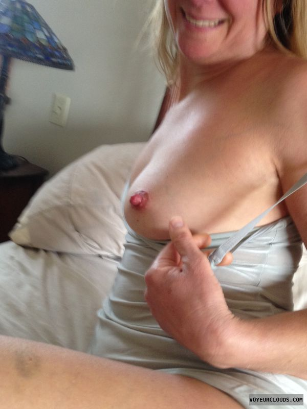 Slut, milf, flashing, tit, nipple, swinger
