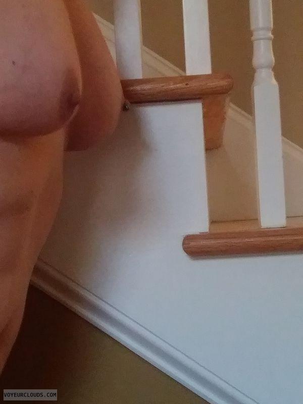 Nude wife, pierced nipple, hard nipples, big tits