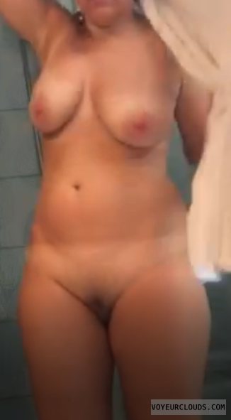 nude, wife, shower, tits, breasts, bush