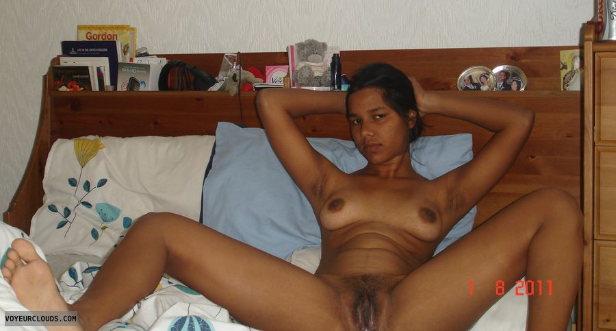 nude wife, shaved pussy, pussy lip, brown nipples