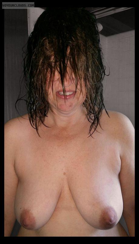 Wife tits, Saggy tits, Slut, Dark Nipples, Hard Nipples