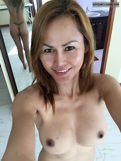 topless, hard nipples, big boobs, selfie, sexy smile