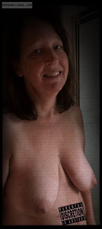 Topless, wife tits, Slut, Nude wife, Saggy tits, Dark Nipples