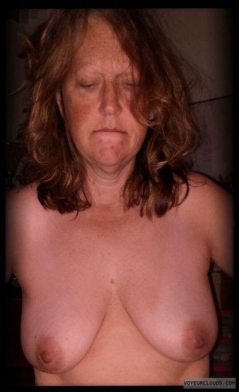 Wife tits, Topless, Slut, Small boobs, Dark Nipples