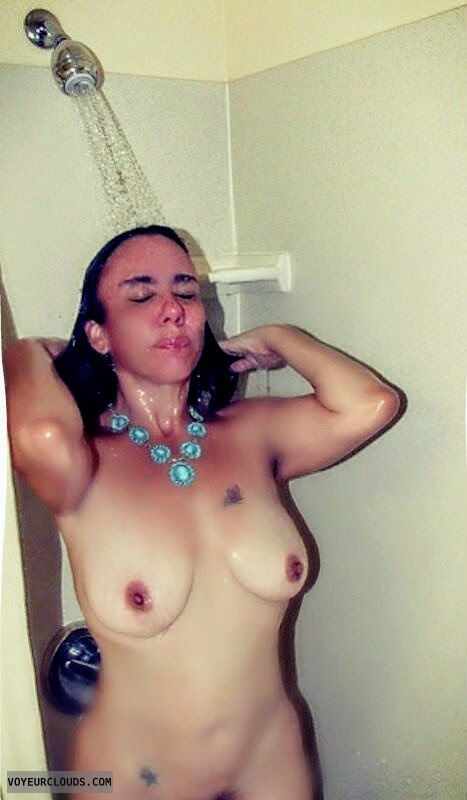Shower, medium tits, wet body, necklace, nude