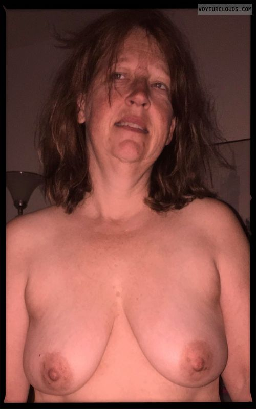 Wife tits, Saggy tits, Slut, Dark nipples, Whore, Small boobs