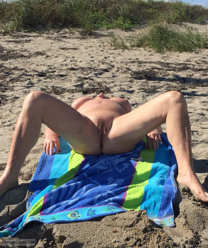 shaved pussy,  tits, big breasts, public, beach, legs