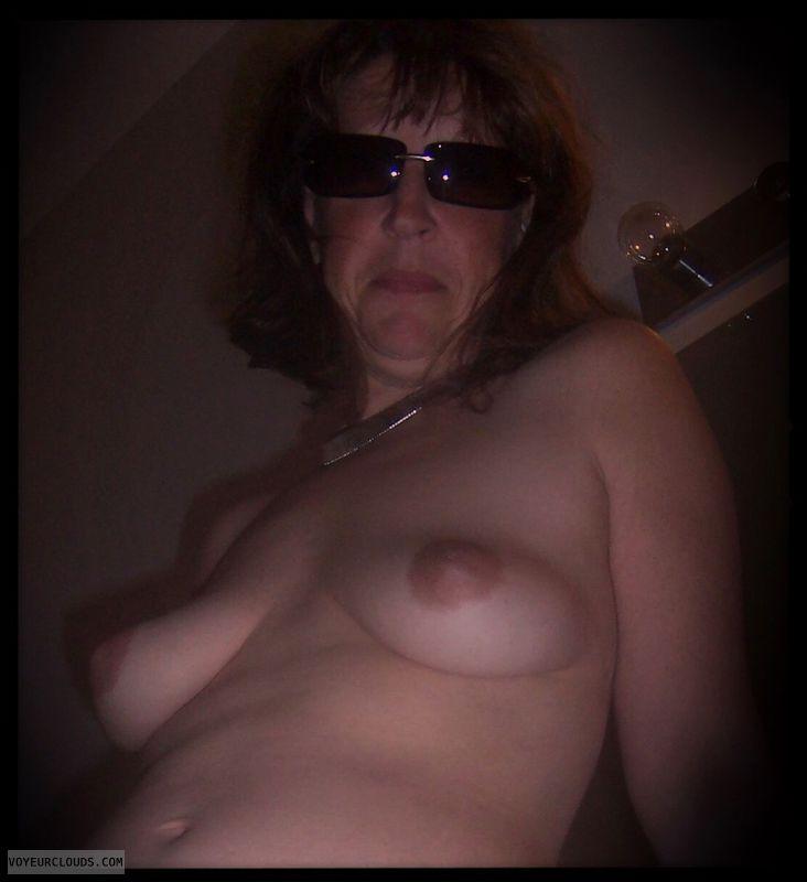 Wife tits, Dark nipples, Small boobs, Topless